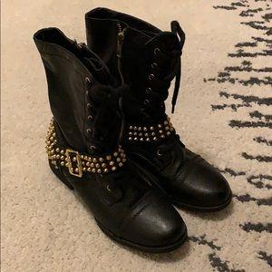 Steve Madden gold studded black combat boots